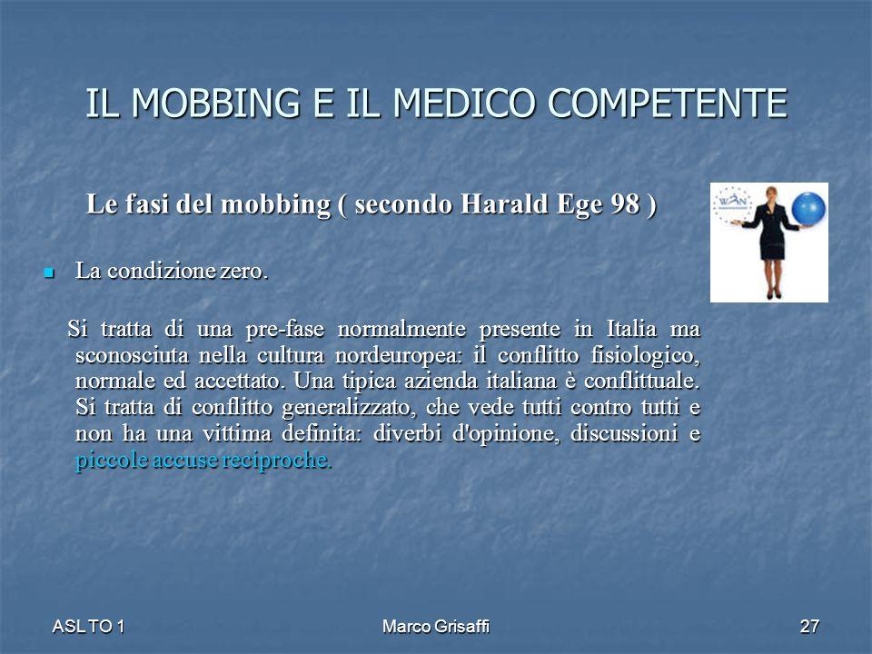 IL MOBBING E IL MEDICO COMPETENTE Le fasi del mobbing ( secondo Harald Ege 98 ) La condizione zero. La condizione zero. Si tratta di una pre-fase norm