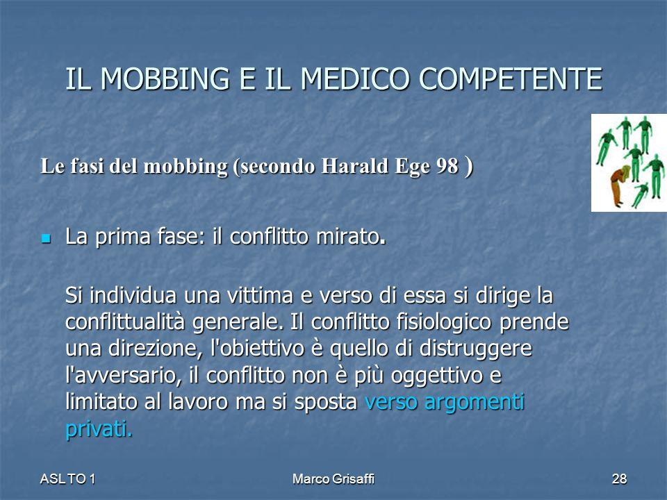 IL MOBBING E IL MEDICO COMPETENTE Le fasi del mobbing (secondo Harald Ege 98 ) La prima fase: il conflitto mirato. La prima fase: il conflitto mirato.