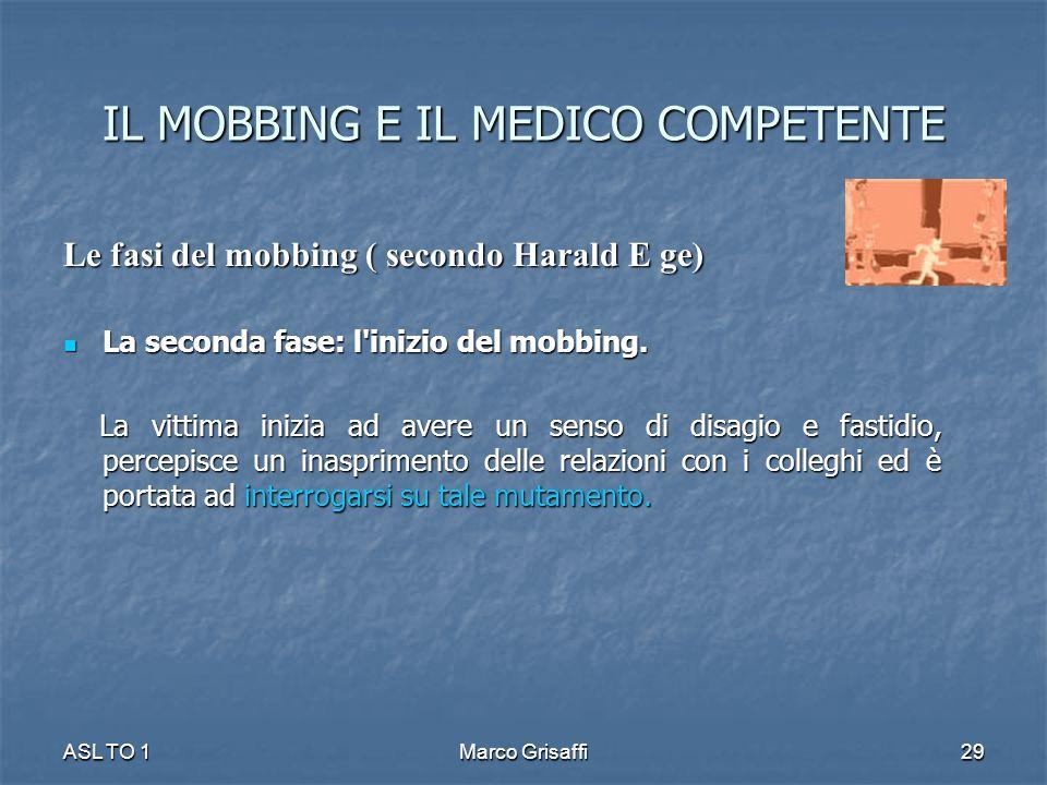 IL MOBBING E IL MEDICO COMPETENTE Le fasi del mobbing ( secondo Harald E ge) La seconda fase: l'inizio del mobbing. La seconda fase: l'inizio del mobb