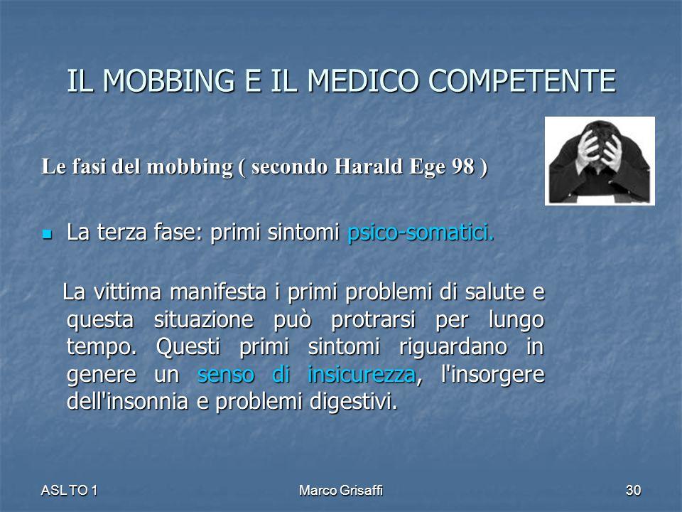 IL MOBBING E IL MEDICO COMPETENTE Le fasi del mobbing ( secondo Harald Ege 98 ) La terza fase: primi sintomi psico-somatici. La terza fase: primi sint