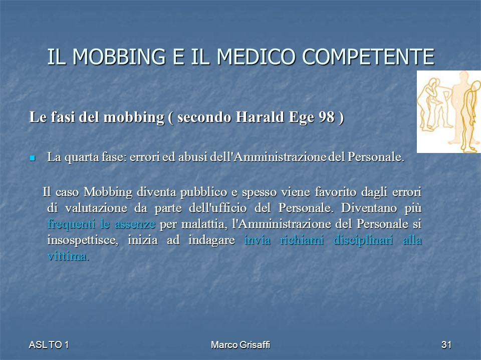 IL MOBBING E IL MEDICO COMPETENTE Le fasi del mobbing ( secondo Harald Ege 98 ) La quarta fase: errori ed abusi dell'Amministrazione del Personale. La