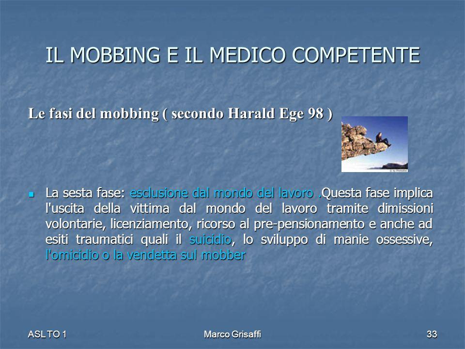 IL MOBBING E IL MEDICO COMPETENTE Le fasi del mobbing ( secondo Harald Ege 98 ) La sesta fase: esclusione dal mondo del lavoro.Questa fase implica l'u