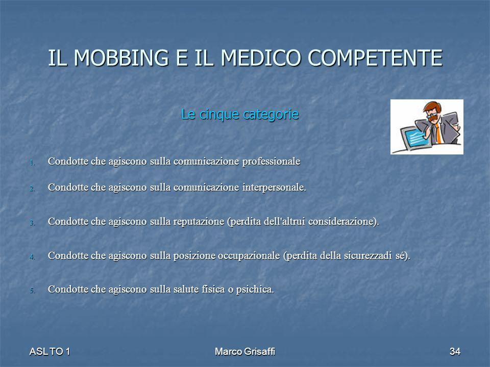 IL MOBBING E IL MEDICO COMPETENTE Le cinque categorie 1. Condotte che agiscono sulla comunicazione professionale 2. Condotte che agiscono sulla comuni