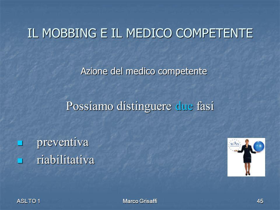 Azione del medico competente Azione del medico competente Possiamo distinguere due fasi preventiva preventiva riabilitativa riabilitativa ASL TO 1Marco Grisaffi45 IL MOBBING E IL MEDICO COMPETENTE