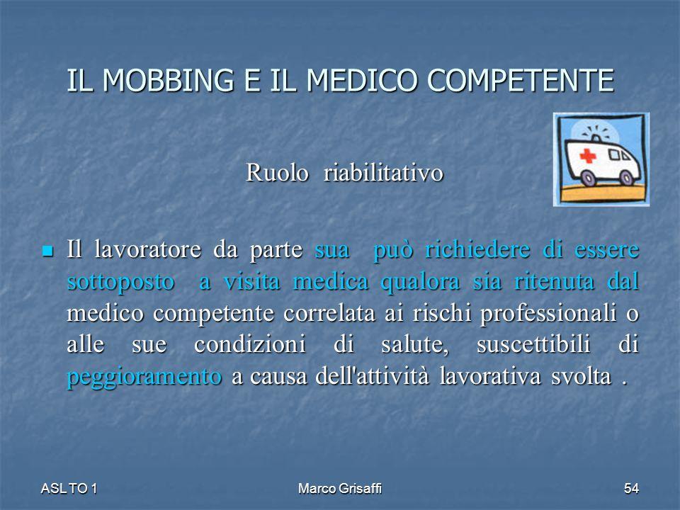 Ruolo riabilitativo Ruolo riabilitativo Il lavoratore da parte sua può richiedere di essere sottoposto a visita medica qualora sia ritenuta dal medico