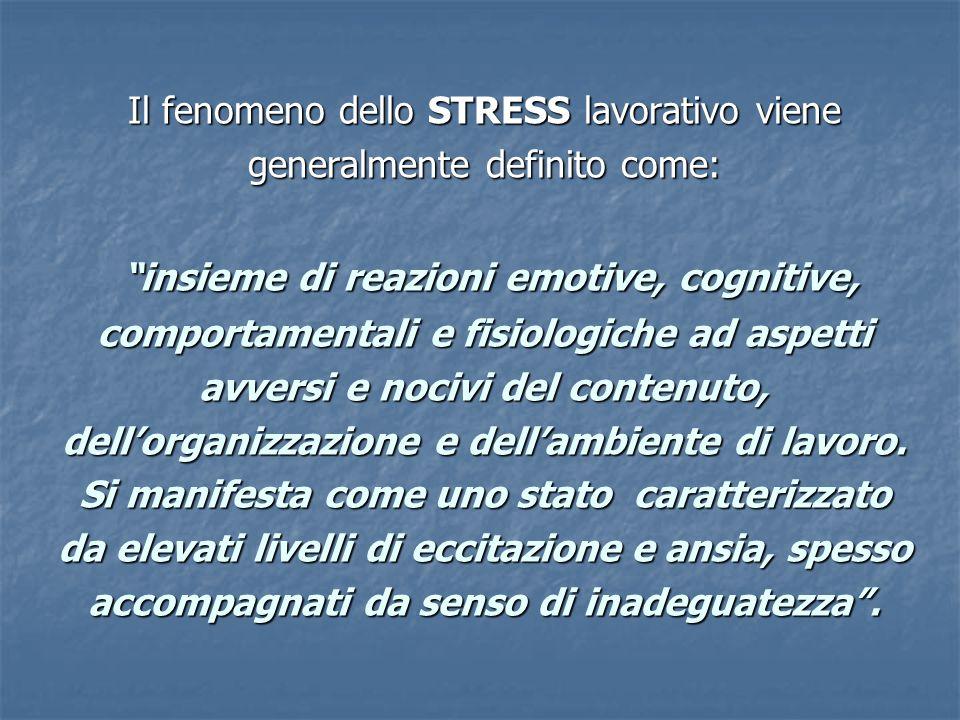 Il fenomeno dello STRESS lavorativo viene generalmente definito come: insieme di reazioni emotive, cognitive, comportamentali e fisiologiche ad aspetti avversi e nocivi del contenuto, dell'organizzazione e dell'ambiente di lavoro.