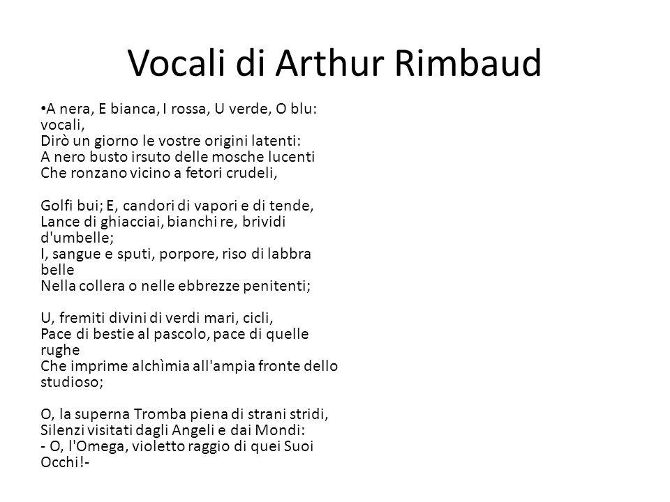 Vocali di Arthur Rimbaud A nera, E bianca, I rossa, U verde, O blu: vocali, Dirò un giorno le vostre origini latenti: A nero busto irsuto delle mosche