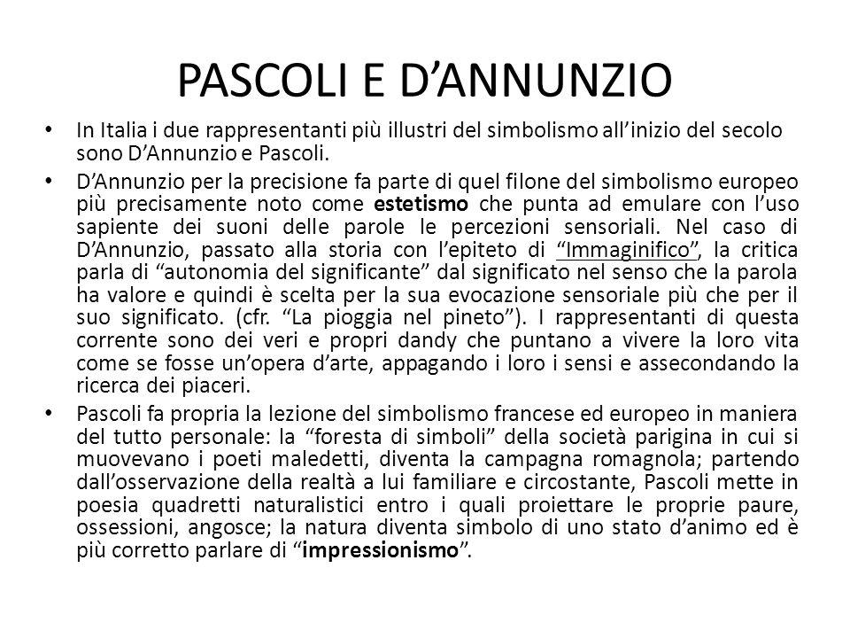 PASCOLI E D'ANNUNZIO In Italia i due rappresentanti più illustri del simbolismo all'inizio del secolo sono D'Annunzio e Pascoli. D'Annunzio per la pre