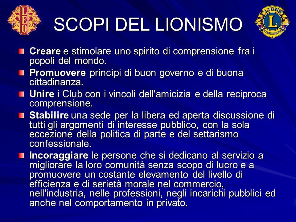 SCOPI DEL LIONISMO Creare e stimolare uno spirito di comprensione fra i popoli del mondo. Promuovere princìpi di buon governo e di buona cittadinanza.