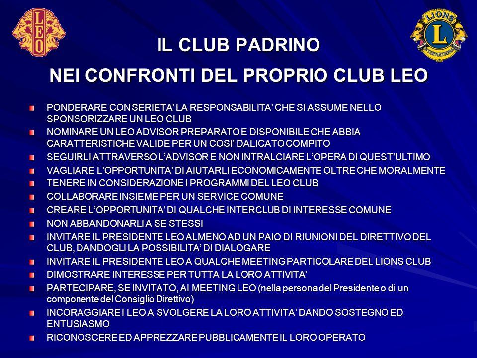 IL CLUB PADRINO NEI CONFRONTI DEL PROPRIO CLUB LEO PONDERARE CON SERIETA' LA RESPONSABILITA' CHE SI ASSUME NELLO SPONSORIZZARE UN LEO CLUB NOMINARE UN