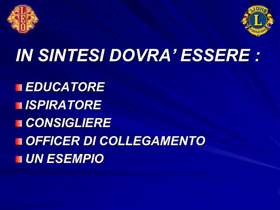 IN SINTESI DOVRA' ESSERE : EDUCATOREISPIRATORECONSIGLIERE OFFICER DI COLLEGAMENTO UN ESEMPIO