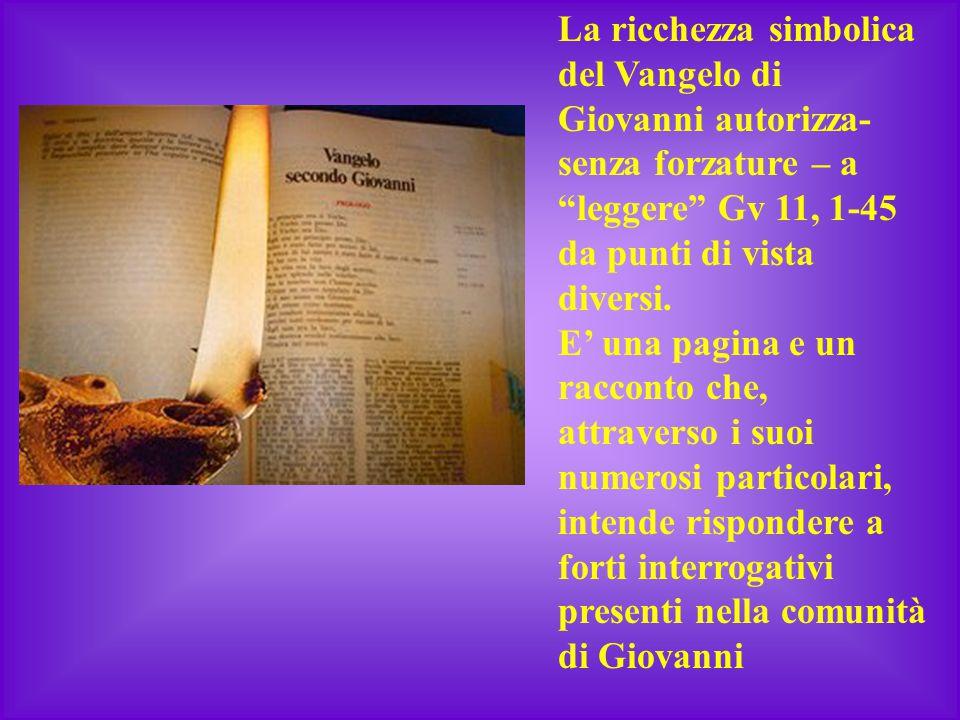 """La ricchezza simbolica del Vangelo di Giovanni autorizza- senza forzature – a """"leggere"""" Gv 11, 1-45 da punti di vista diversi. E' una pagina e un racc"""