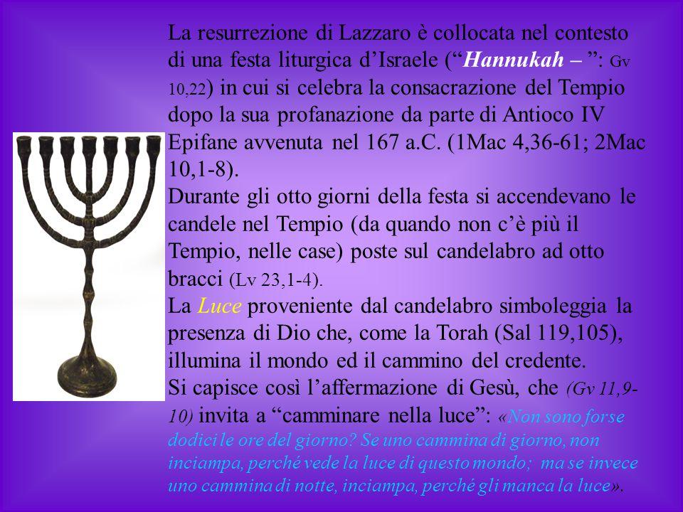 """La resurrezione di Lazzaro è collocata nel contesto di una festa liturgica d'Israele (""""Hannukah – """": Gv 10,22 ) in cui si celebra la consacrazione del"""