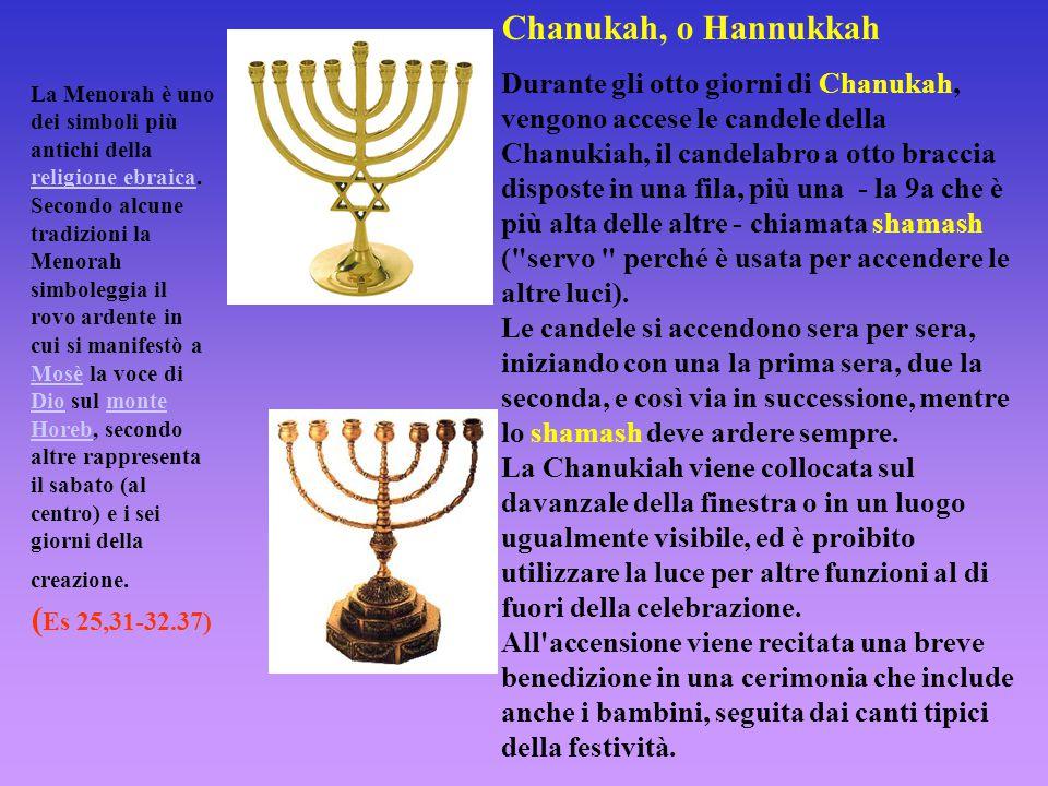 Chanukah, o Hannukkah Durante gli otto giorni di Chanukah, vengono accese le candele della Chanukiah, il candelabro a otto braccia disposte in una fil