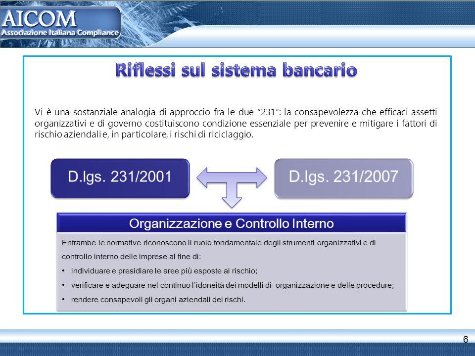 6 Organizzazione e Controllo Interno Entrambe le normative riconoscono il ruolo fondamentale degli strumenti organizzativi e di controllo interno dell
