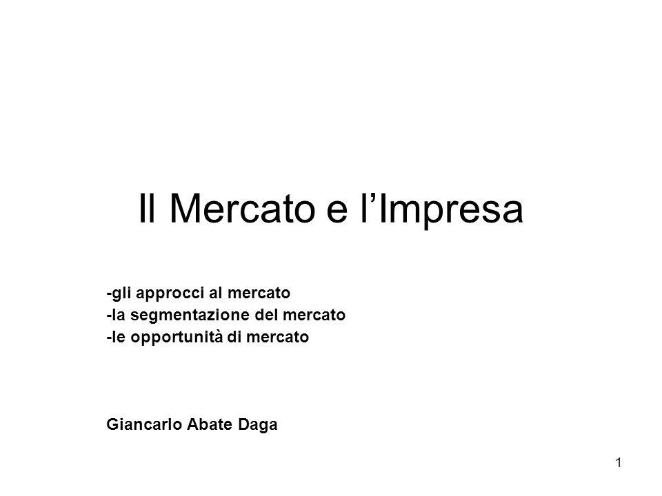 1 Il Mercato e l'Impresa -gli approcci al mercato -la segmentazione del mercato -le opportunità di mercato Giancarlo Abate Daga