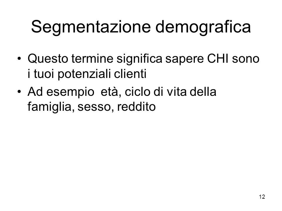 12 Segmentazione demografica Questo termine significa sapere CHI sono i tuoi potenziali clienti Ad esempio età, ciclo di vita della famiglia, sesso, reddito