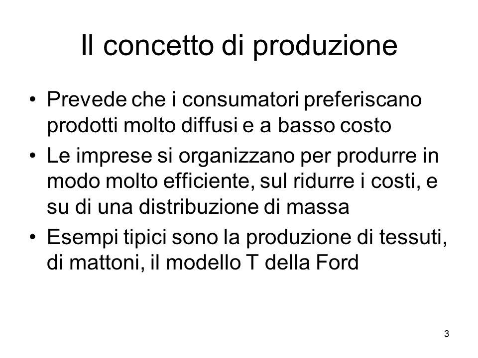 3 Il concetto di produzione Prevede che i consumatori preferiscano prodotti molto diffusi e a basso costo Le imprese si organizzano per produrre in modo molto efficiente, sul ridurre i costi, e su di una distribuzione di massa Esempi tipici sono la produzione di tessuti, di mattoni, il modello T della Ford