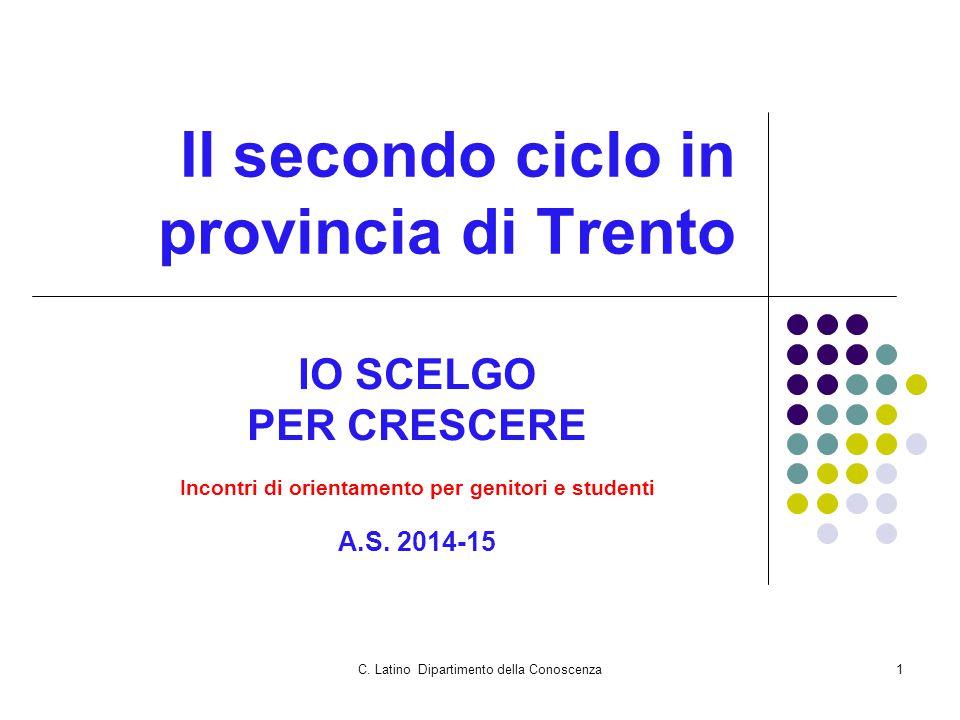 C. Latino Dipartimento della Conoscenza1 Il secondo ciclo in provincia di Trento IO SCELGO PER CRESCERE Incontri di orientamento per genitori e studen