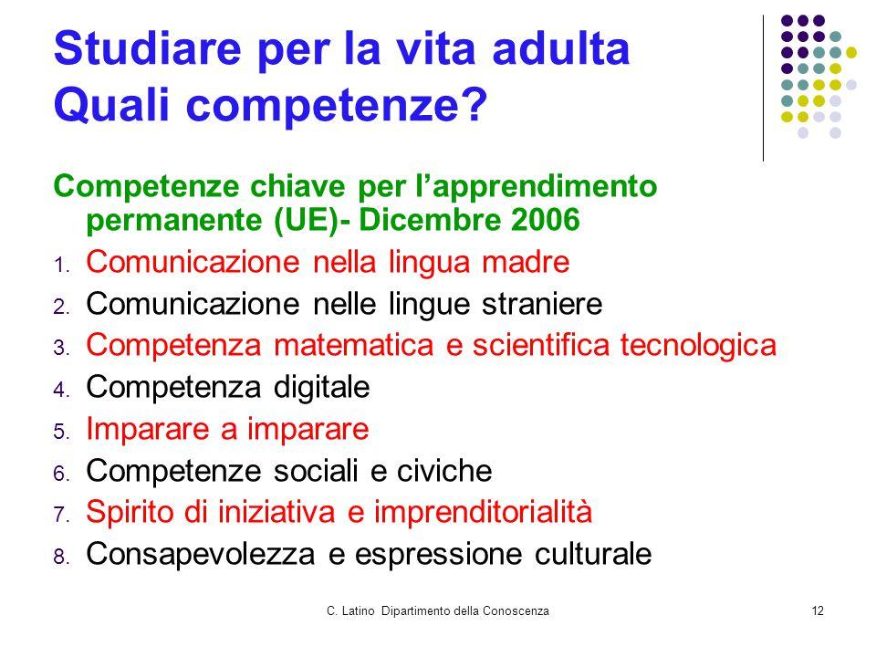 C. Latino Dipartimento della Conoscenza12 Studiare per la vita adulta Quali competenze.