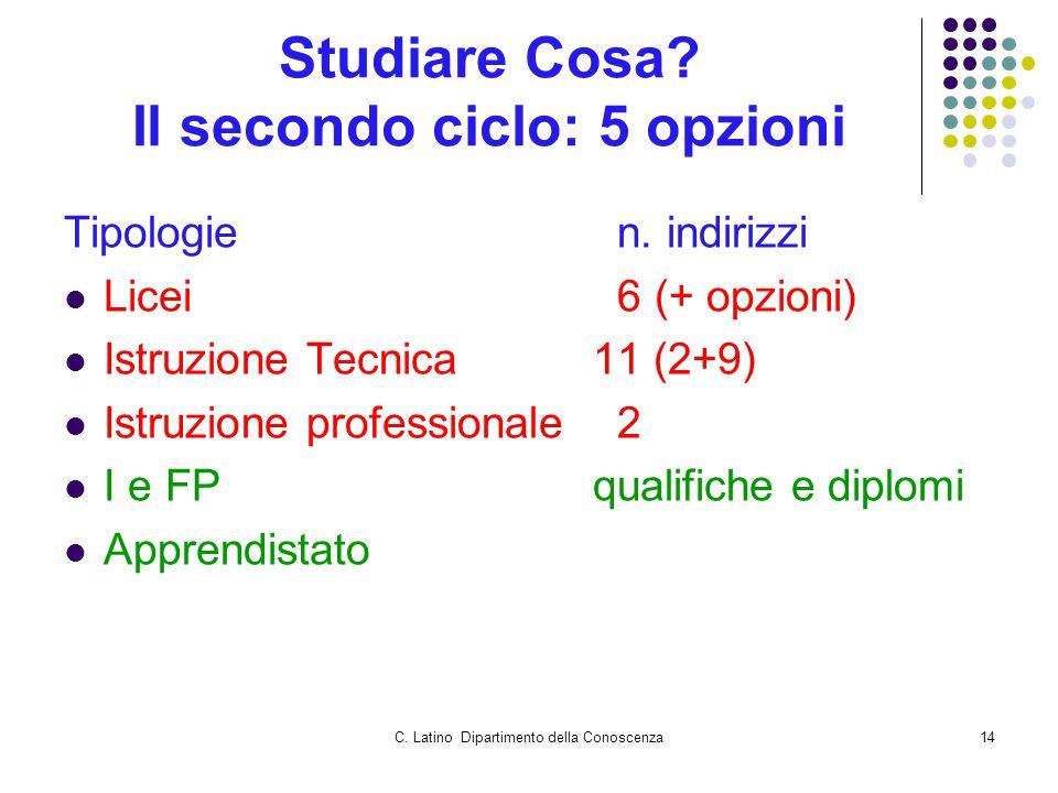 C. Latino Dipartimento della Conoscenza14 Studiare Cosa.