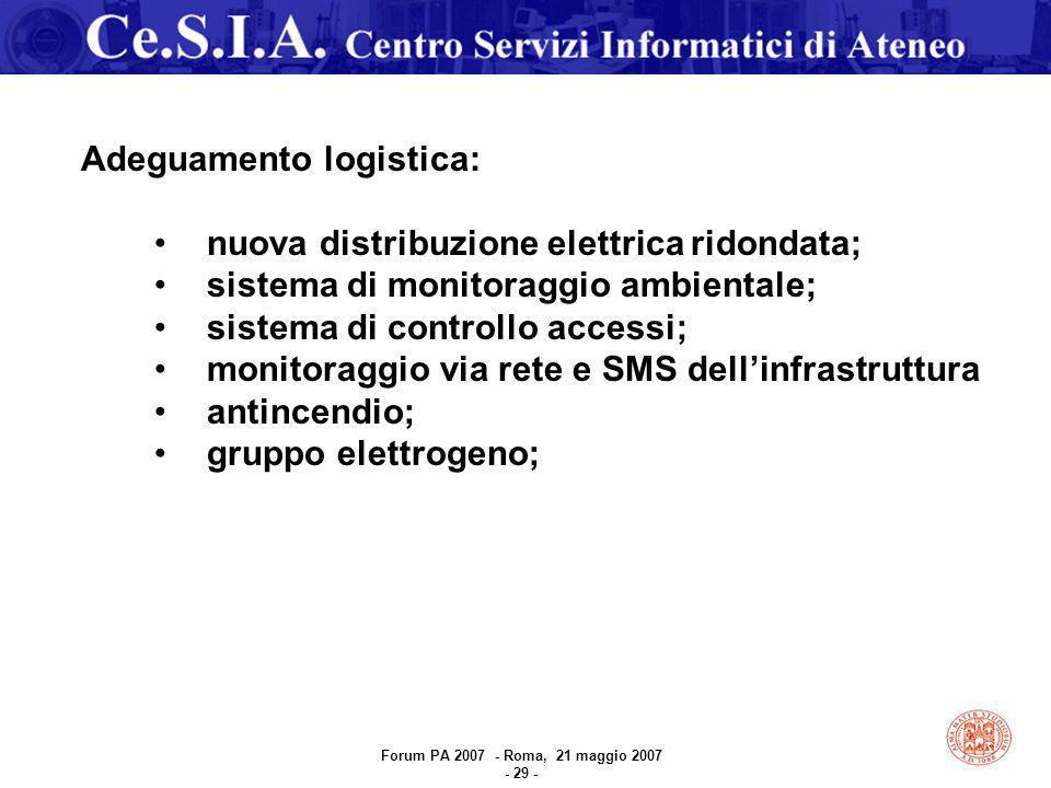 Adeguamento logistica: nuova distribuzione elettrica ridondata; sistema di monitoraggio ambientale; sistema di controllo accessi; monitoraggio via rete e SMS dell'infrastruttura antincendio; gruppo elettrogeno; Forum PA 2007 - Roma, 21 maggio 2007 - 29 -