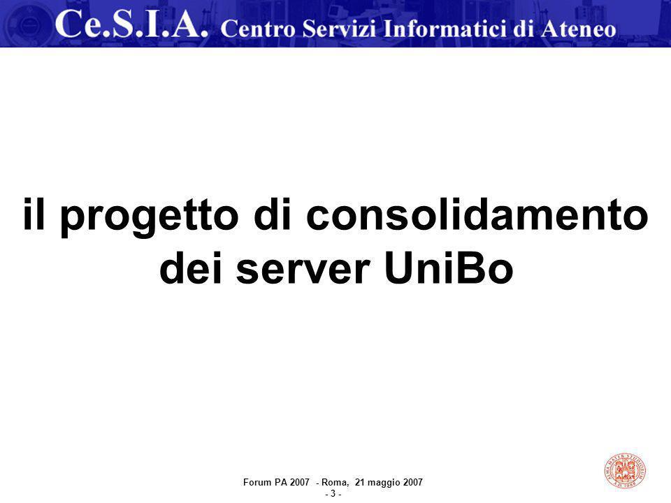 il progetto di consolidamento dei server UniBo Forum PA 2007 - Roma, 21 maggio 2007 - 3 -