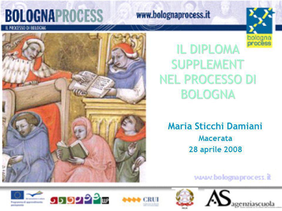 IL DIPLOMA SUPPLEMENT NEL PROCESSO DI BOLOGNA Maria Sticchi Damiani Macerata 28 aprile 2008