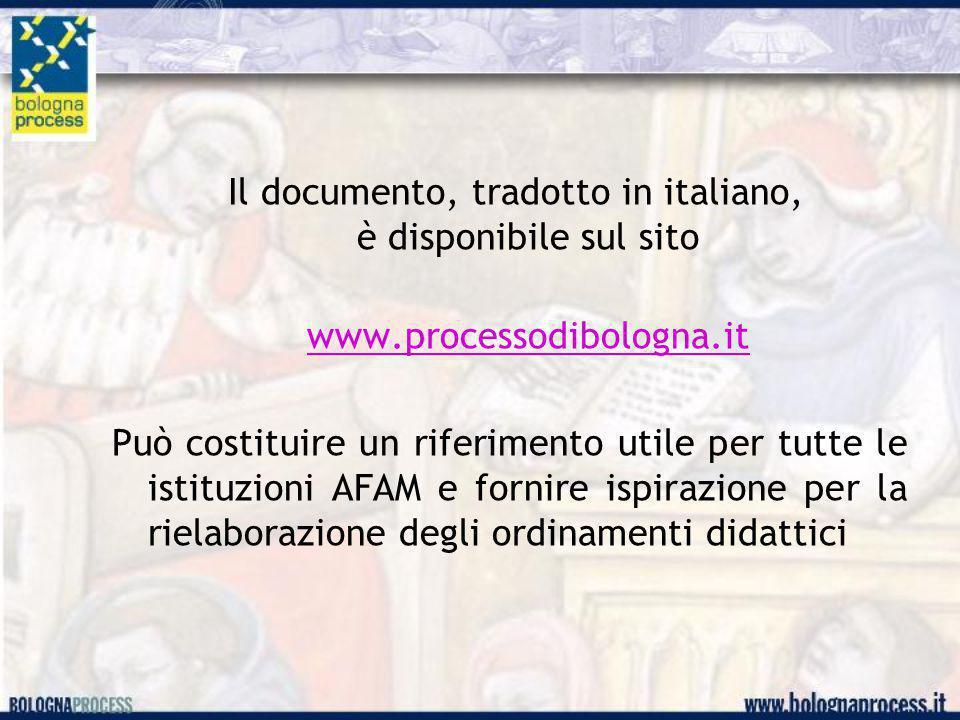 Il documento, tradotto in italiano, è disponibile sul sito www.processodibologna.it Può costituire un riferimento utile per tutte le istituzioni AFAM e fornire ispirazione per la rielaborazione degli ordinamenti didattici