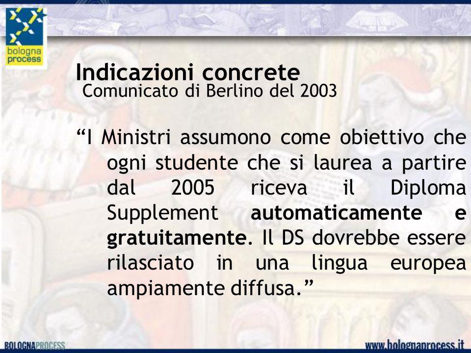 Indicazioni concrete Comunicato di Berlino del 2003 I Ministri assumono come obiettivo che ogni studente che si laurea a partire dal 2005 riceva il Diploma Supplement automaticamente e gratuitamente.