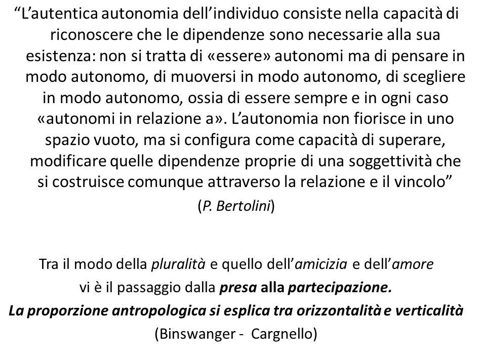 L'autentica autonomia dell'individuo consiste nella capacità di riconoscere che le dipendenze sono necessarie alla sua esistenza: non si tratta di «essere» autonomi ma di pensare in modo autonomo, di muoversi in modo autonomo, di scegliere in modo autonomo, ossia di essere sempre e in ogni caso «autonomi in relazione a».