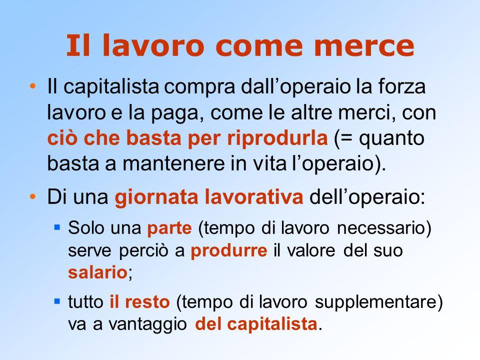 Il lavoro come merce Il capitalista compra dall'operaio la forza lavoro e la paga, come le altre merci, con ciò che basta per riprodurla (= quanto bas