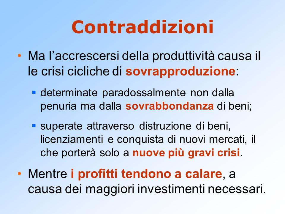Contraddizioni Ma l'accrescersi della produttività causa il le crisi cicliche di sovrapproduzione:  determinate paradossalmente non dalla penuria ma