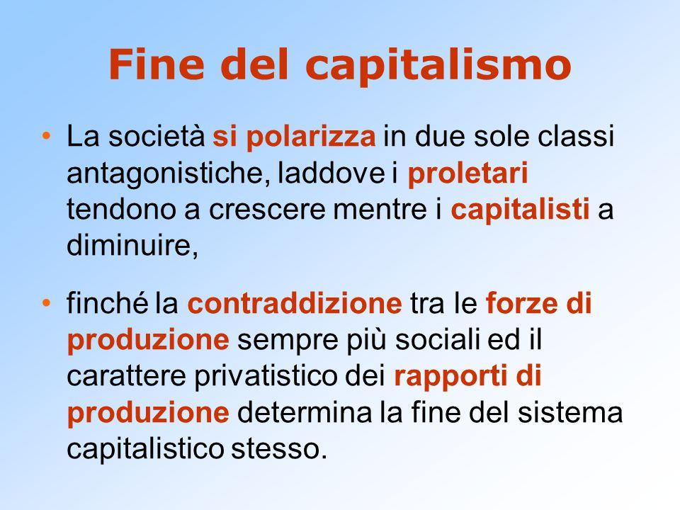 Fine del capitalismo La società si polarizza in due sole classi antagonistiche, laddove i proletari tendono a crescere mentre i capitalisti a diminuir