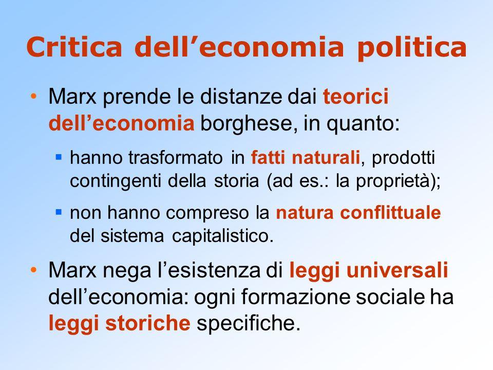 Critica dell'economia politica Marx prende le distanze dai teorici dell'economia borghese, in quanto:  hanno trasformato in fatti naturali, prodotti
