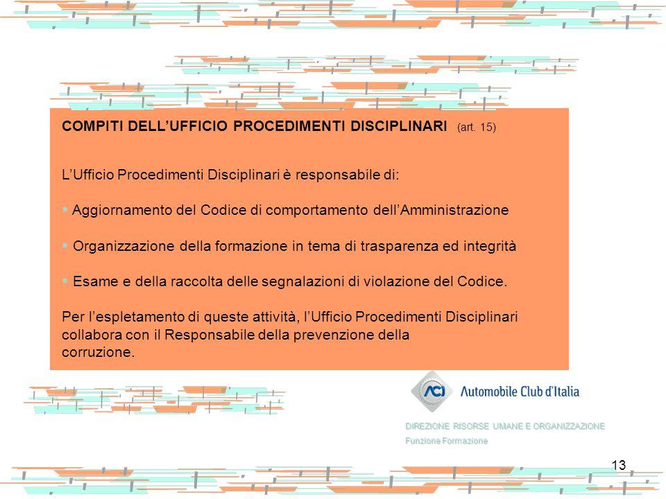 13 COMPITI DELL'UFFICIO PROCEDIMENTI DISCIPLINARI (art. 15) L'Ufficio Procedimenti Disciplinari è responsabile di:  Aggiornamento del Codice di compo