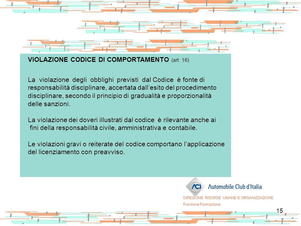 15 VIOLAZIONE CODICE DI COMPORTAMENTO (art. 16) La violazione degli obblighi previsti dal Codice è fonte di responsabilità disciplinare, accertata dal