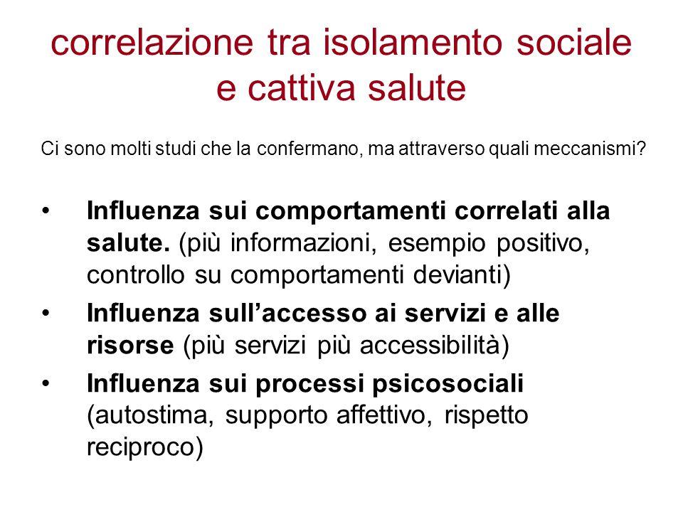 correlazione tra isolamento sociale e cattiva salute Ci sono molti studi che la confermano, ma attraverso quali meccanismi.