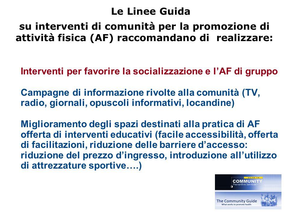 Le Linee Guida su interventi di comunità per la promozione di attività fisica (AF) raccomandano di realizzare: Interventi per favorire la socializzazi
