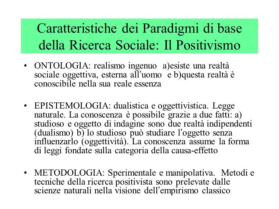 Caratteristiche dei Paradigmi di base della Ricerca Sociale: Il Post - Positivismo ONTOLOGIA: realismo ingenuo.