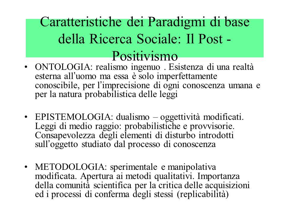 Caratteristiche dei Paradigmi di base della Ricerca Sociale: Il Post - Positivismo ONTOLOGIA: realismo ingenuo. Esistenza di una realtà esterna all '
