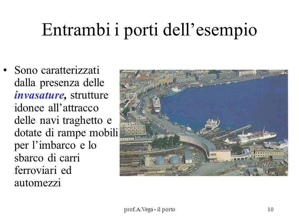 prof.A.Vega - il porto10 Entrambi i porti dell'esempio Sono caratterizzati dalla presenza delle invasature, strutture idonee all'attracco delle navi traghetto e dotate di rampe mobili per l'imbarco e lo sbarco di carri ferroviari ed automezzi
