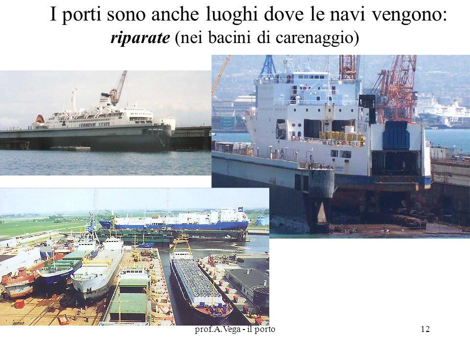 prof.A.Vega - il porto12 I porti sono anche luoghi dove le navi vengono: riparate (nei bacini di carenaggio)