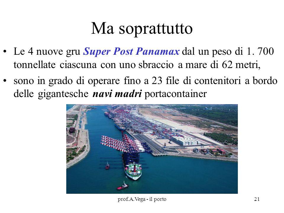 prof.A.Vega - il porto21 Ma soprattutto Le 4 nuove gru Super Post Panamax dal un peso di 1.