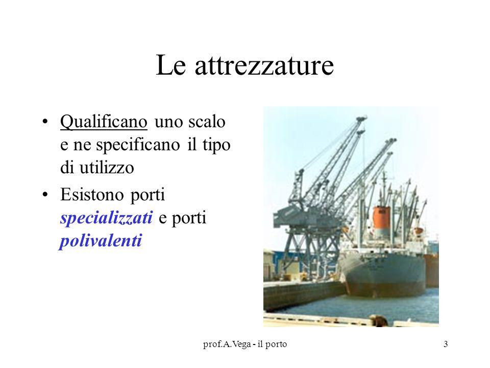 prof.A.Vega - il porto3 Le attrezzature Qualificano uno scalo e ne specificano il tipo di utilizzo Esistono porti specializzati e porti polivalenti