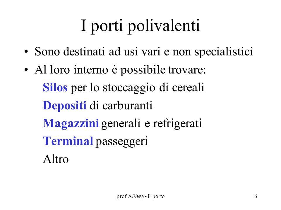 prof.A.Vega - il porto7 I porti possono essere Naturali se si sfrutta una baia o un'insenatura Artificiali se sono stati costruiti totalmente dall'opera dell'uomo In questo caso possono essere : Escavati Esterni