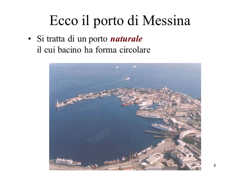 prof.A.Vega - il porto8 Ecco il porto di Messina Si tratta di un porto naturale il cui bacino ha forma circolare