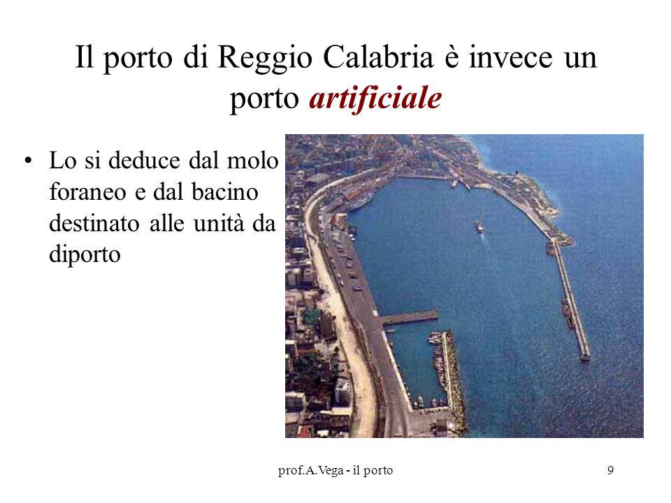 prof.A.Vega - il porto9 Il porto di Reggio Calabria è invece un porto artificiale Lo si deduce dal molo foraneo e dal bacino destinato alle unità da diporto
