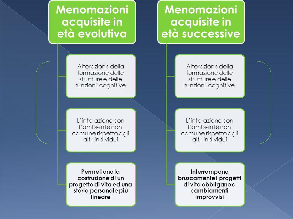 Menomazioni acquisite in età evolutiva Alterazione della formazione delle strutture e delle funzioni cognitive L'interazione con l'ambiente non comune