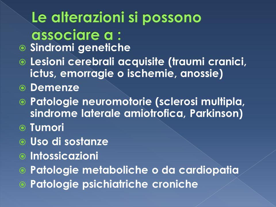  Sindromi genetiche  Lesioni cerebrali acquisite (traumi cranici, ictus, emorragie o ischemie, anossie)  Demenze  Patologie neuromotorie (sclerosi